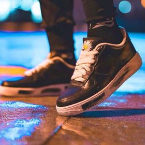Hot GD x PEACEMINUSONE x forzato 1 Low Black White Skateboard Scarpe Uomo Moda Donna Nero comodi formatori esterni Sneakers