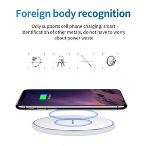 2020 hot mirror 10W intelligent Qi wireless charger metal simple round desktop mobile phone fast charging