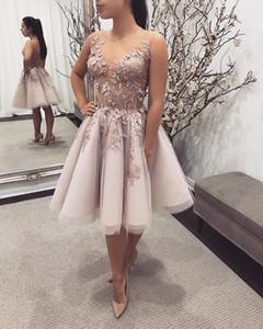 Brevi abiti da ballo 2019 pizzo 3D Appliques floreale perline abiti da sera formali abiti da cocktail party abito gioiello collo abbigliamento abito