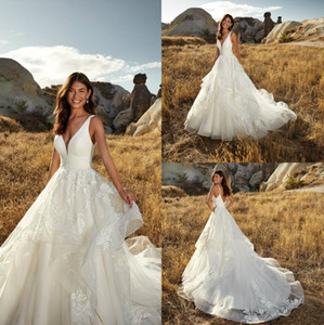 Eddy K Wedding Dresses Satin V Neck Bridal Gowns Ruffles Lace Appliques Sweep Train Beach Wedding Dress Vestidos