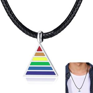 """Rainbow Gay Lesbiennes LGBT fierté Triangle colliers pour hommes femme avec 24 """"chaîne de corde noire"""
