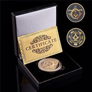 Freemason Masonic Brotherhood Organization Anniversary Logo Gold Plated Metal Commemorative Coins W Lucky Box