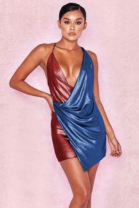 Spaghettibügel Halfter Minikleider Womens V-Ausschnitt Sexy, figurbetontes Kleid Rückenfrei Party Club Kleider Getäfeltes Design-Kleid