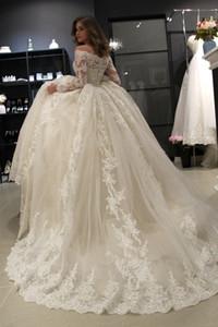 Vestido De Noiva Muslim Dresses Ball Gown Strapless Long Sleeve Lace Dubai Arabic pageant Gown Ivory Bride Dress Cheap