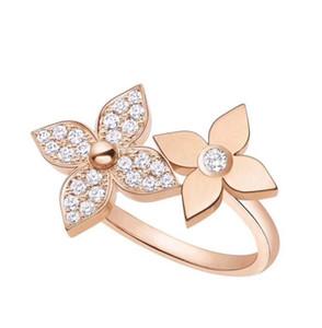 럭셔리 디자이너 보석 여성 반지 새로운 모델 2019 판매 전체 다이아몬드를 두 번 꽃 조절 링에 간다