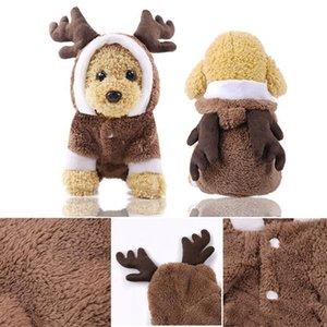 Рождество Pet одежда мультфильм Симпатичные собаки Кошка зимы плюша пальто костюмы Санта Printted Одежда Рождество пальто Pet костюм украшения LXL738-1
