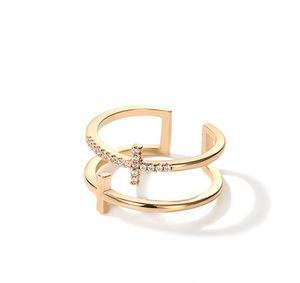 طبقة مزدوجة خواتم الفرقة مثلج خارج الماس 18K الذهب فاخر السخية مصمم الأنيق مجوهرات لحزب النساء المشاركة الجميلة اكسسوارات الدائري