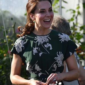 Kate Middleton Retro Druck Blumen schließen Hülsen-elegantes Temperament Bankett langen Kleid Frauen neuen Frühling-Sommer-Qualitäts