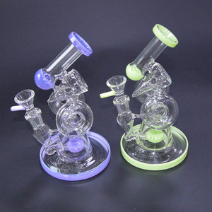 Double Recycler Bong Slitted Donut Perc Glass Bong Sidecar Dab Rig Water Pipes Heady Glass Rigs Bongs With 14.5mm Joint XL-320