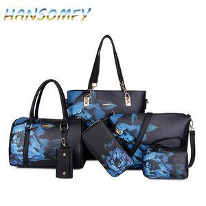 HANSOMFY New Mulheres PU bolsas de couro Mulheres Impresso Sacos Designer 6 Pieces Set Bolsas de Ombro Bandoleira para as Mulheres Big Tote X1-38 V191209