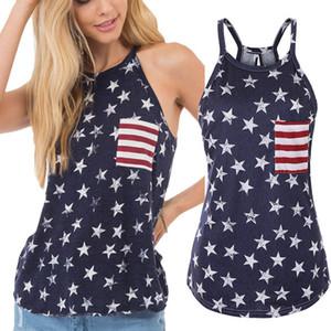 Frauen-beiläufige Sling-Shirt American Flag Independence National Day USA 4. Juli-Streifen-Stern gedruckt Splice Zurück Slit Bogen Plus-Frauen Top