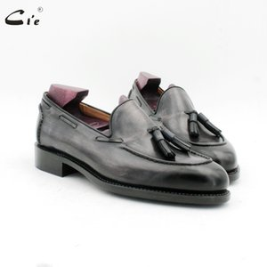 cie round toe hand stitching tassels patina gray goodyear boat shoe handmade men's slip-on casual calf leather men loafer187