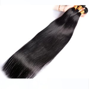 Wholesale Virgin Mink Brazilian 28inch 30inch Straight Wave Wefts Peruvian Straight Human Hair Bundles With 4x4 Lace Closure