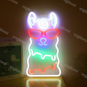Led Neon Sign SMD2835 interior Noite luz projeto Alpaca Multicolor Modelo Com Xmas Partido Transparente Backplane férias Wedding Table Lamp DHL