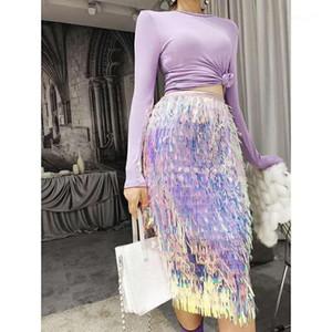Etekler Peri Yüksek Bel İnce Yarım Boy Etek Sıcak Satış Bayanlar Elbiseler Moda payetli Püskül Kadın