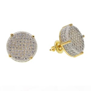 14mm disc micro pave cubic zirconia gold colors bling hip hop women mens screwback earring