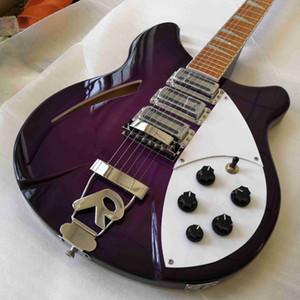 RIC 360 6 Cordas Gloss guitarra roxo semi oco Body Electric Gloss Varnish Rosewood fingerboard, 3 Torradeira Pickups, único F Hole, 5 Konbs
