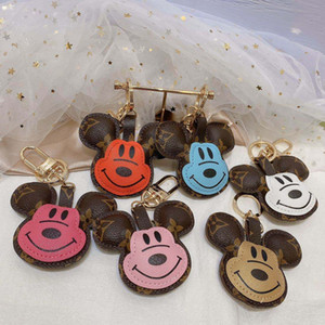 Lindo diseñador de ratón llaveros de cuero de la PU Llaveros de lujo Llaveros de la joyería Colgante de animales Charms Cadenas de llavero llavero Tenedor de coche Accesorios de moda