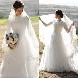 2020 musulmana abiti da sposa di alta del collo mezze maniche Appliques raso tulle di lunghezza del pavimento Plus Size Abiti da sposa