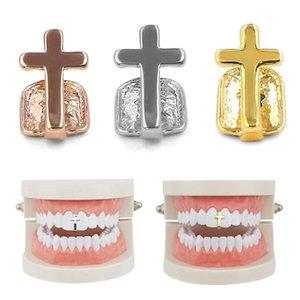واحد الأسنان عبر الأقواس لون الذهب الهيب هوب مغني الراب واحدة الأسنان كاب الأعلى أسفل الأسنان الشواية للحصول على هدايا مجوهرات تأثيري بلينغ