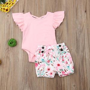 의류 세트 2021 태어난 유아 아기 소녀 꽃 장난 꾸러기 + 반바지 여름 복장 옷 인쇄 슬리브 2PCS 유아 Clothings Sunsuits