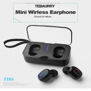 공장 직접 T18s 블루투스 5.0 이어폰 마이크 충전 상자와 함께 TWS 무선 이어폰 - 귀 핸즈프리 스포츠 이어 버드
