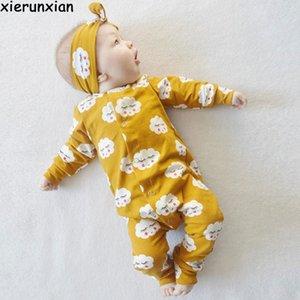 Ropa de patrón de nube Tres colores Opcional Mameluco de niña Otoño recién nacido Ropa de bebé de manga larga Baby BoyX190912