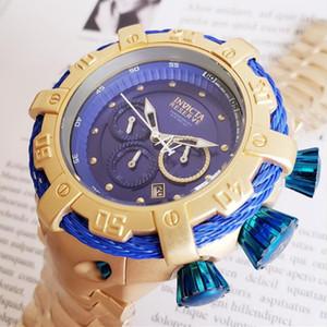 Швейцария COSC топ Безупречное качество INVICTA бренда Большой циферблат из нержавеющей стали хронограф Полный календарь Многофункциональный Мужские кварцевые часы