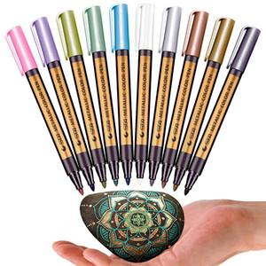 10PCS / 많은 10 색 금속 영구 물 마커 펜 생일 선물 카드 세라믹 유리 플라스틱 종이 색 마커 페인트