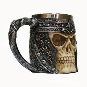 Tasse de café en acier inoxydable Scull 3D moulage moules tasses Tasse de café crâne en acier inoxydable avec poignée Viking Skull bière Tasses meilleur cadeau