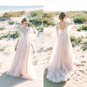 2020 Hermosa Bohomain Blush Pink Un Línea Vestidos de novia Full Encaje País Vestido de novia Cuello Personal Mangas largas Mangas MÁS TAMAÑO BOHO BOHO BOHO BOHO