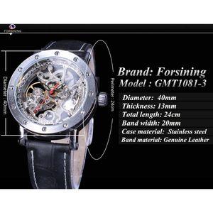 Forsining Watch + Bilezik Seti Kombinasyon Gümüş İskelet Kırmızı El Siyah Hakiki Deri Otomatik Saatler Erkekler Şeffaf Saat
