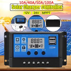 10A-100A ЖК MPPT панель солнечных батарей регулятор контроллер заряда 12V / 24V автофокус отслеживания 2 USB солнечной энергии инверторы заряда