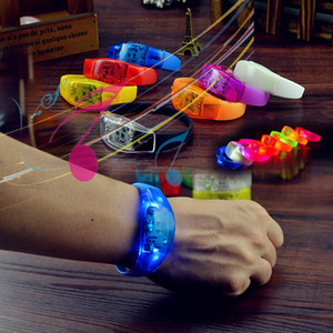 Sound Control Bracelet Led Flashing Bracelets Light Up Bangle Wristband Club Party Bar Cheer Luminous Hand Ring GGA2615