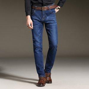 2017 New Mens Stretch Jeans Autumn Winter Mid Weight Thin Denim Black Blue Slim Fit Dress Jeans