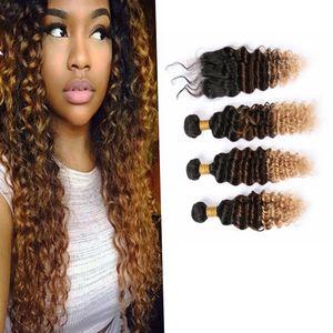 3Tones Цветные Виргинские Пучки волос с Closure # 1B / # 8 / # 27 Dark Root Deep Wave Ombre Extensions Human 10А волос человеческих волос Пучки Ombre