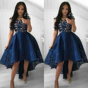 2019 Hi Lo Prom Transkes Чистые шеи кружевные шапки рукава короткие вечерние платья на заказ девочек домогорное выпускные платья