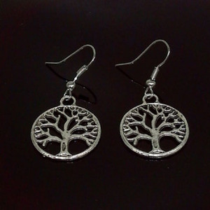 Vintage Tree of Life Earrings Statement Punk Retro Fish Ear Hook Antique Silver Chandelier Earring Fashion Jewelry Christmas Gift