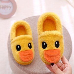 Home cotton shoes children's warm cotton shoes female cartoon plus velvet childrens slippers non-slip thick baby toddler shoes