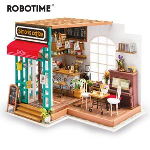 القهوة Robotime DIY سيمون مع اثاث الأطفال الكبار مصغرة خشبي بيت الدمية نموذج البناء مجموعات دمية لعب T200116