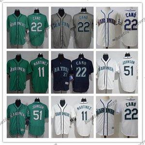 custom Men women youth SeattleMariners22 Robinson Cano 51 Ichiro Suzuki Home Green White Grey Baseball Jerseys