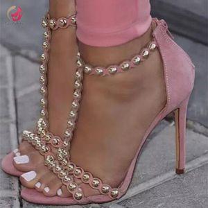 Intention originale New Perles Rose Sandales Femme toes Sweety Grâce Chic Femme Pompes Stiletto Escarpins Taille Mode plus