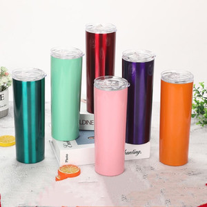 Skinny Tumbler 20oz Skinny Cups Coffee Mugs with Lids Colorful Straws Insulated Vacuum Tumblers Slim Straight Cup Beer Water Bottle LXL559-1