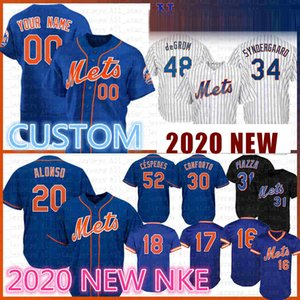 ÖZEL 20 Pete Alonso 2020 Beyzbol Jersey Darryl Strawberr Piazza Jacob deGrom Nuh Syndergaard Michael Conforto Keith Hernandez Gooden