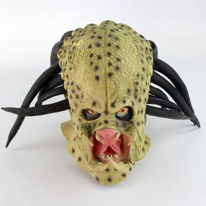 Латекс фильм Иностранец Predator Cosplay маска костюм шлем Реквизит Antenna Halloween Party Horror анфас Head Mask игрушки SH190922