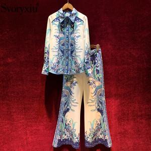 Flor blanca azul de la vendimia Svoryxiu 2020 Runway Moda primavera verano de dos piezas de las mujeres impresión de alta calidad juegos de pantalones