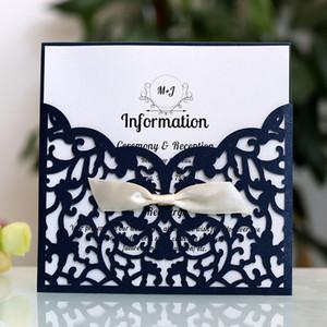 شخصية مخصصة الذهب Wishmade بطاقة دعوة الزفاف مع مغلفات المشاركة الزواج عيد ميلاد الموردين الزفاف التبعي