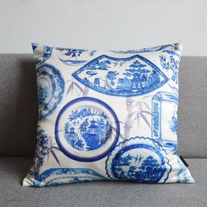 DUNXDECO Pillow Case Square Cushion Cojin Vintage Chinese White Blue Porcelain Print Elegant Art Sofa Chair Cushion Cover