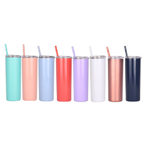 20oz Stainless Steel Slim Tumblers with Straws and Lids Double Vacuum Insulated Unbreakable Cup Coffee Cups and Travel Mugs