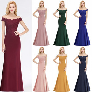 Elegantes vestidos largos para las mujeres fuera de la sirena de hombro Vestidos de dama de honor sin espalda de boda Vestidos de baile de la tarde BM0065